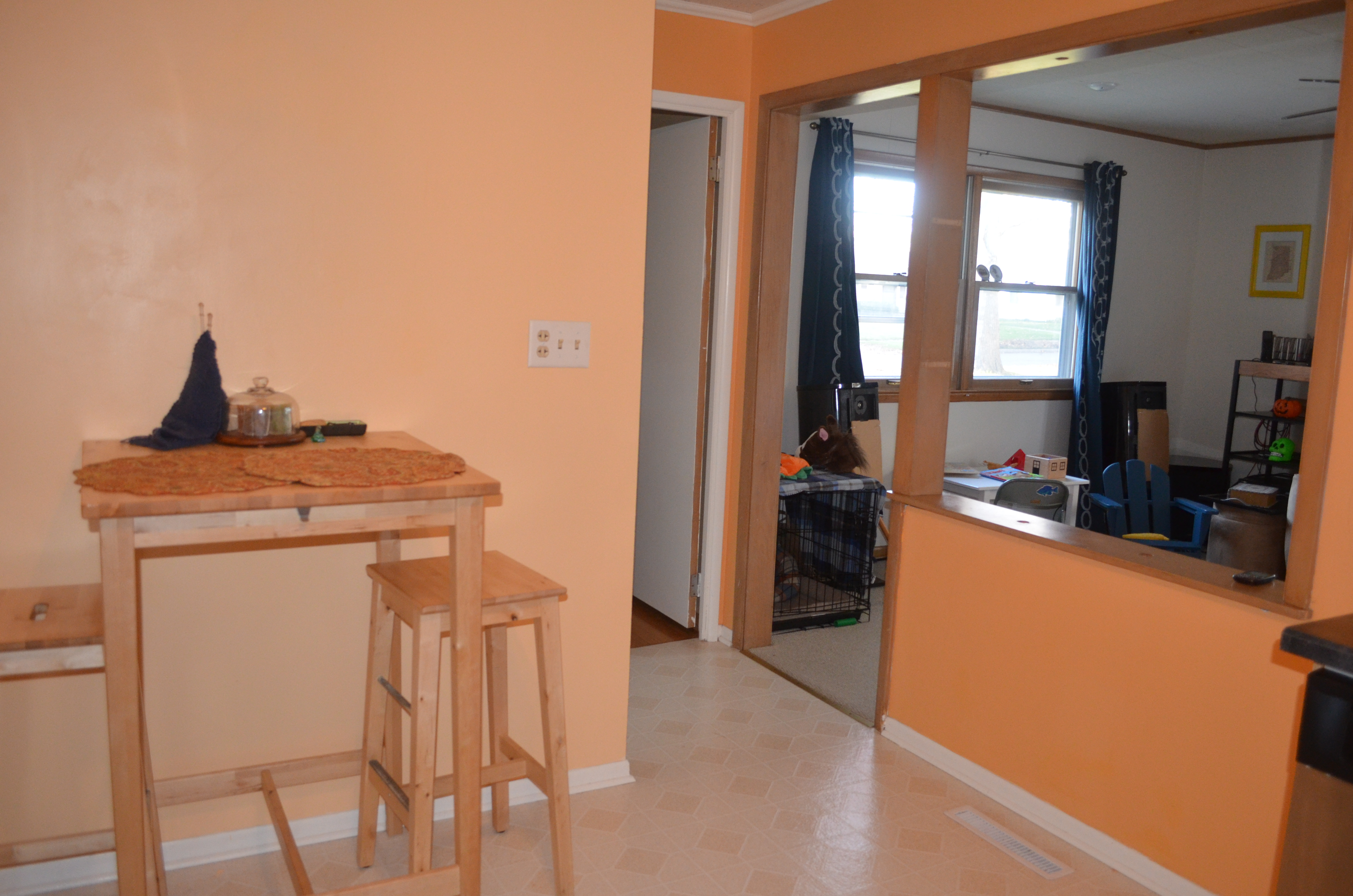 Before and after the open door - Peach color kitchen ...
